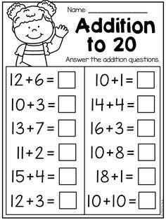 Kindergarten and Grade Worksheet First Grade Addition and Subtraction Worksheets Addition Worksheets First Grade, First Grade Addition, Addition And Subtraction Worksheets, 2nd Grade Math Worksheets, 1st Grade Math, Addition Activities, Math Workbook, Math Class, Subtraction Kindergarten