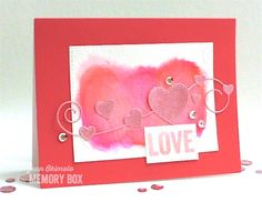 Valentine card by Jean Okimoto using Homespun Hearts and Swirling Stitches dies