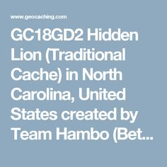 GC18GD2 Hidden Lion (Traditional Cache) in North Carolina, United States created by Team Hambo (Bethie Pie and Garf, AJBojay)