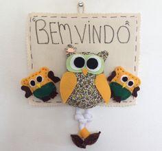 Enfeite para porta de entrada com corujinhas coloridas!  Produto feito à mão, com corujinhas em tecido e feltro.