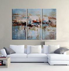"""Modern Hand Painted Canvas painting Art Work for Wall Decor Home Decoration """"Boating on the lake """" 3-Piece Gallery-Wrapped Flower Oil Painting On Canvas Artland http://www.amazon.com/dp/B00ZZJ43B8/ref=cm_sw_r_pi_dp_TKgPvb1S5X4R2"""