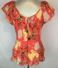 Zac & Rachel Shirt Top Petite L Floral Print Pink and Yellow Boho Gypsy Style #zacrachel #Tshirt #Casual
