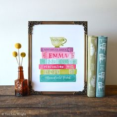 Jane Austen Book Stack Spines Illustration  8x10 by letterwright