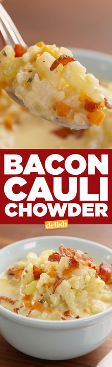 This Bacon Cauli Chowder is the low-carb way to warm up. Get the recipe from Delish.com.