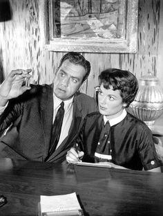 "Raymond Burr and Barbara Hale on ""Perry Mason""; Ms Hale played Della Street, Mason's resourceful and steadfast secretary."