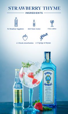 Strawberry Thyme: 1. Halve strawberries and gently press the sprigs of thyme. 2. Put ingredients in the glass and fill with ice cubes. 3. Add 5cl Bombay Sapphire and top off with tonic water.