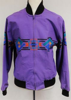 Vintage Wrangler BRUSH POPPER Jacket Southwestern Navajo Purple Zip Front Men 48