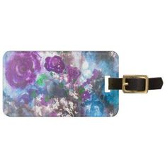 Watercolor Abstract Flowers Luggage Tag - purple floral style gifts flower flowers diy customize unique