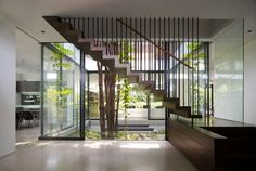 Floating staircase - internal courtyard