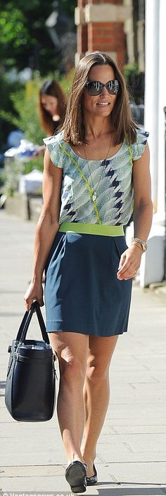 Pippa Middleton wore Tabitha Webb top and skirt, London Sole Henrietta flats and Aspinal of London tote bag.