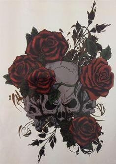 NEW TATTOO Three Skull And Rose Temporary Tattoo Stickers#16