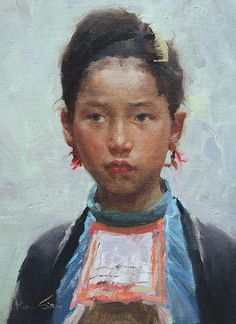 'Miao Beauty' by Mian Situ [司徒绵  was born In 1953 In Canton (now Guangdong) Southern China]