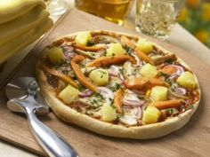 Caribbean Jerk Pineapple Pizza  #chicken #pizza #recipe Dole Pineapple, Pineapple Pizza, Jerk Marinade, Chicken Pizza Recipes, Skinless Chicken Thighs, Pepper Jack Cheese, Barbecue Sauce, Chutney, Vegetable Pizza