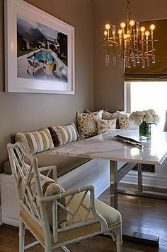 Banquette for the kitchen. Build with storage under cushion