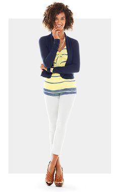 Yellow & white Knot Cami with the navy Easy Topper pair with the white boyfriend Jean. Shop 24/7 @ deborahkolb.cabionline.com