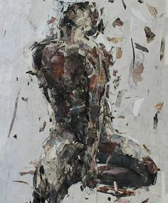 """In celebration of its 25th anniversary, The Bag Factory is hosting a number of events. An important public auction entitled, 25: A Contemporary will be held at the ABSA Gallery 10 - 17 November Artwork by: Benon Lutaaya, """"Modelling Figure"""", R125 000 - R87 500 #art #artwork #auction #painting #paperart #canvas #collage #artsy #saarttimes #jhb #instaart #instadaily #southafricanart"""