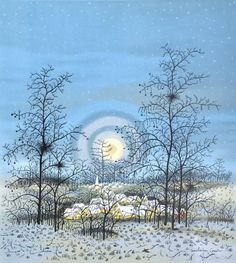 Ivan Lacković Croata Winter in the village Selo zimi lithography made in 1976 Tokyo Museum, Winter Painting, Naive Art, Stone Painting, Beautiful Artwork, Painting Techniques, Pretty Pictures, Home Art, Art Museum