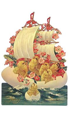 Vintage old Easter card with chicks on an egg boat!:)
