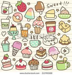 New simple art drawings ideas hand drawn Ideas Cute Food Drawings, Cute Kawaii Drawings, Doodle Drawings, Easy Drawings, Doodles Kawaii, Food Doodles, Cute Doodle Art, Cute Art, Doodles Bonitos