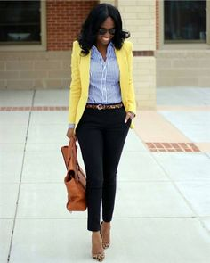 For outfit details yellow blazer outfits, yellow cardigan, blue striped shi Spring Work Outfits, Spring Fashion Outfits, Casual Work Outfits, Business Casual Outfits, Business Attire, Mode Outfits, Office Outfits, Work Casual, Autumn Fashion
