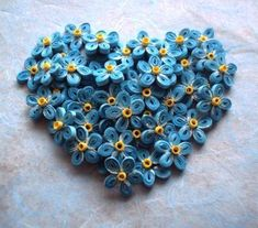 forget me not heart quilled piece from Quilling Cafe