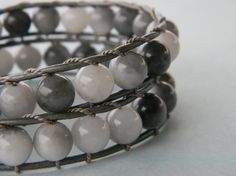 Grey Skies are gonna clear up!!!  Pretty Grey Skies Double Wrap Leather Bracelet by RusticCharm, $40.00