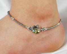Anklet Ankle Bracelet Seafoam Sage Green by ABeadApartJewelry, $13.00