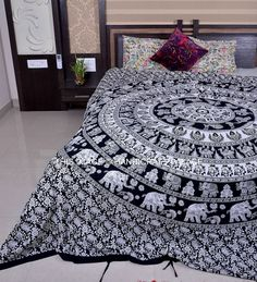 Ethnic Indian Elephant Mandala Print Bedding Duvet Quilt Cover Queen Duvet Set #Handmade #Traditional #DuvetCover