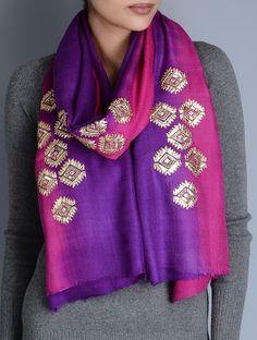 Pink Purple Gota Patti Phulkari Embroidery, Kurta Patterns, Velvet Shawl, Rajputi Dress, Embroidery Works, Pashmina Scarf, Cashmere Wool, Indian Wear, Indian Outfits