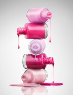 Nail varnish drip pink cosmetics make up makeup. Luxury goods still life photo. By Josh Caudwell commercial advertising product editorial photographer.London, New York, Paris, Milan.