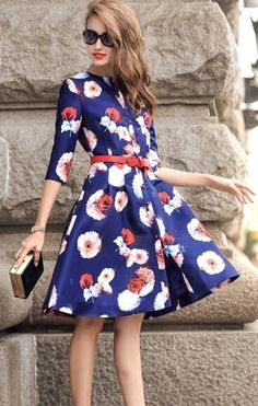 OUTFIT DEL DÍA: Look con vestido azul estampado