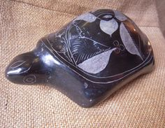 Vintage Mexican Pottery Turtle Signed Black by ParlezVousGrits, $28.00