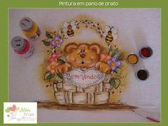 Pano de prato - pintado à mão - urso no cesto - Além Brasil