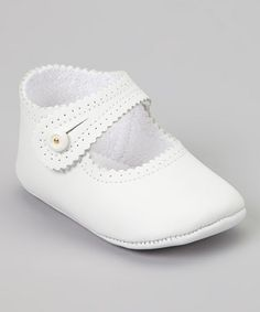 Take a look at this White Scalloped Mary Jane by Cuquito on #zulily today!