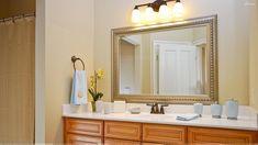 25 ideas for bath room dark brown framed mirrors Bathroom Mirror With Shelf, Modern Bathroom Mirrors, Bathroom Mirror Makeover, Chic Bathrooms, Diy Mirror, Modern Bathroom Design, Beautiful Bathrooms, Bathroom Lighting, Vanity Mirrors