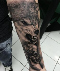 best wolf tattoo designs for men. Awesome wolf tattoos, Best wolf tattoos for men. A wolf tattoo is one of the most popular choices when it comes to animal-inspired tattoos. Wolf Tattoo Forearm, Forest Forearm Tattoo, Wolf Tattoo Back, Tribal Wolf Tattoo, Small Wolf Tattoo, Wolf Tattoo Sleeve, Forarm Tattoos, Forearm Sleeve Tattoos, Tatoos