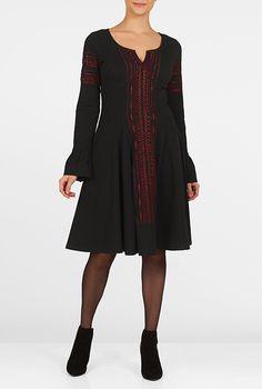 I <3 this Embellished cotton knit empire dress from eShakti