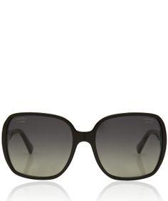 Chanel Black Large Rectangular Polarised Sunglasses