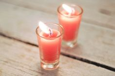 How to Make Shot Glass Candles. If you're at a loss for what to do with your growing shot glass collection, get creative and turn them into interesting candles. It's a great alternative to letting them gather dust in a cabinet, allows you. Candle Wedding Favors, Candle Favors, Wedding Glasses, Candle Holders, Best Candles, Diy Candles, Making Candles, Scented Candles, Pillar Candles