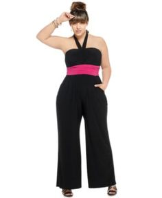 Love Squared Plus Size Jumpsuit, Halter Ruched Waist - Junior Plus Size - Plus Sizes - Macy's Plus Size Romper, Plus Size Jumpsuit, Plus Size Dresses, Plus Size Outfits, Curvy Girl Fashion, Cute Fashion, Plus Size Fashion, Sweet Fashion, Womens Fashion