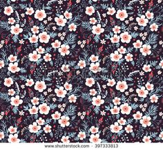 Cute pattern in small flower. Small white flowers.  Black background. Seamless floral pattern.