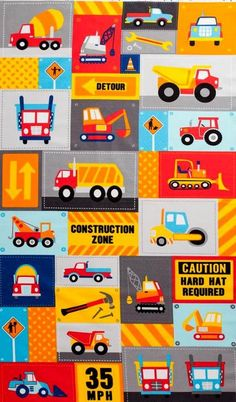 Coton Quilt Fabric Panel Work Zone Modern Primary Construction Worker - product images  of