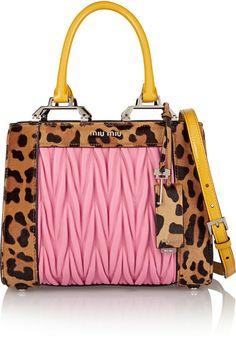 Miu Miu Double Handle leopard-print calf hair and matelassé leather shoulder bag