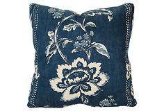 Blue & White Print Pillow by Charles Fradin $149.
