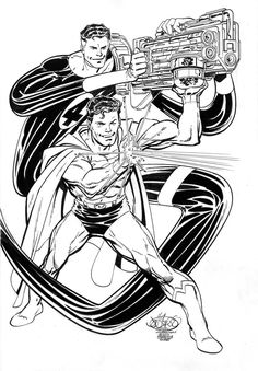 Mister Fantastic & Superman by John Byrne Comic Book Guy, Comic Book Artists, Comic Book Heroes, Comic Artist, Comic Books Art, Marvel Vs, Marvel Comics, Mister Fantastic, Black And White Comics