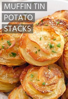 Potato Side Dishes, Vegetable Side Dishes, Vegetable Recipes, Parmesan Potatoes, Crispy Potatoes, Parmesan Potato Stacks Recipe, Cheesy Potatoes, Muffin Tin Recipes, Muffin Tins