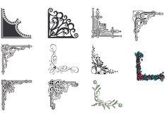 XOO.me :: 11 Ornate Frame Corner Flourishes Vector Set