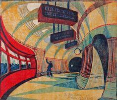 """Tube Station"" by Cyril Edward Power (linocut)"