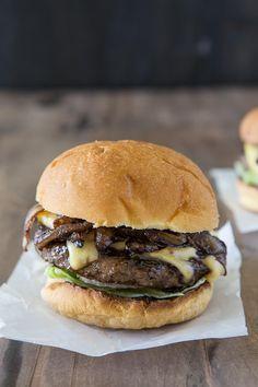 carmalized onion gouda burger