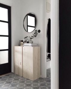 Wooden cubbord (ikea alex?) and assembly, round mirror
